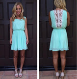 ByChicStyle Casual Lake Blue Plain Lace Hollow-out Chiffon Mini Dress