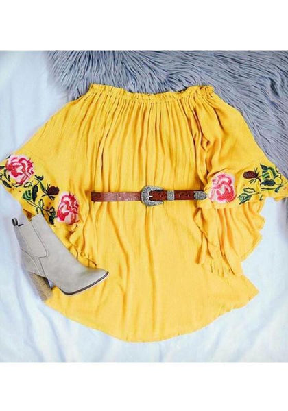 Casual Lemon Yellow Flower Embroidery Flare Sleeve Mini Dress