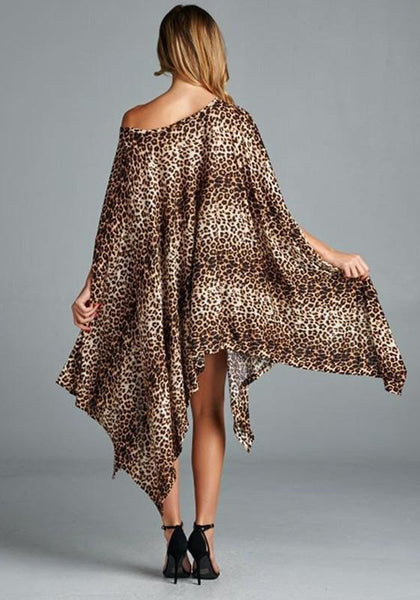 Casual Leopard Print Irregular Dolman Sleeve One Shoulder Loose Plus Size Fashion Dress