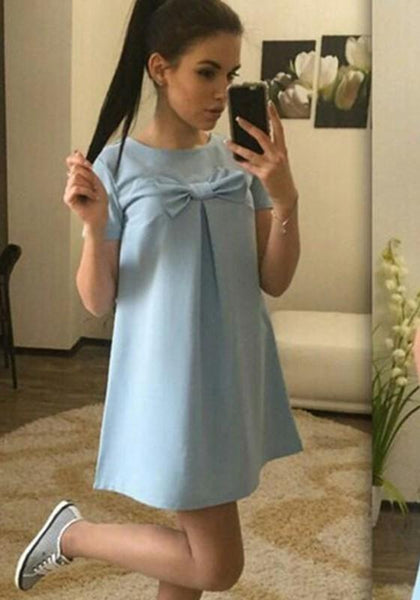 Casual Light Blue Bow Draped Round Neck Short Sleeve Above Knee Mini Dress