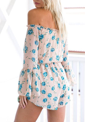 Casual Light Blue Floral Print Ruffle Drawstring Off Shoulder Casual Mini Dress