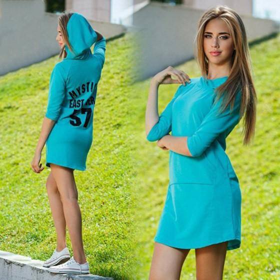 Casual Light Blue Monogram Pockets Hooded Elbow Sleeve Mini Dress