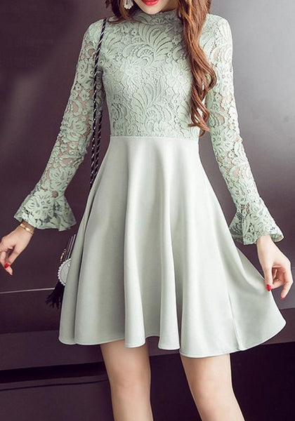 Casual Light Blue Patchwork Draped Lace Zipper Flare Sleeve Band Collar Mini Dress