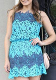 ByChicStyle Casual Light Blue Patchwork Lace Hollow-out Condole Belt Mini Dress