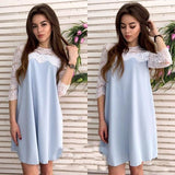 ByChicStyle Casual Light Blue Patchwork Lace Hollow-out Draped Half Sleeve Fashion Mini Dress