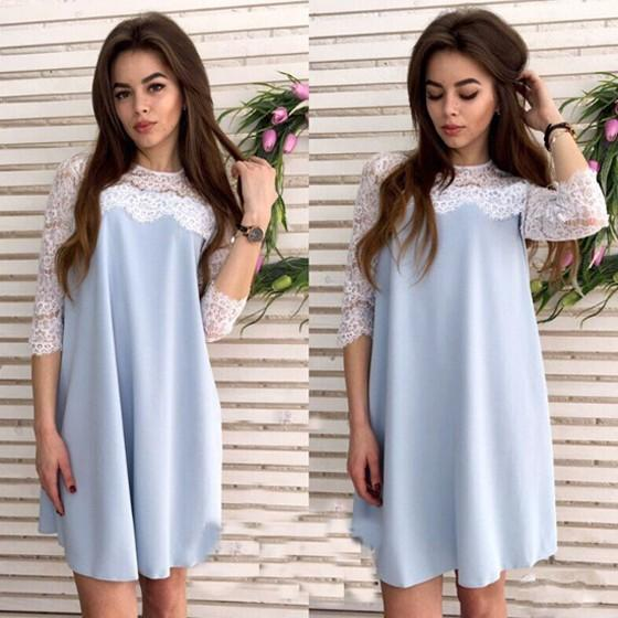 Casual Light Blue Patchwork Lace Hollow-out Draped Half Sleeve Fashion Mini Dress