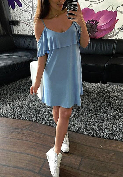 Casual Light Blue Plain Cut Out Ruffle Elbow Sleeve Mini Dress