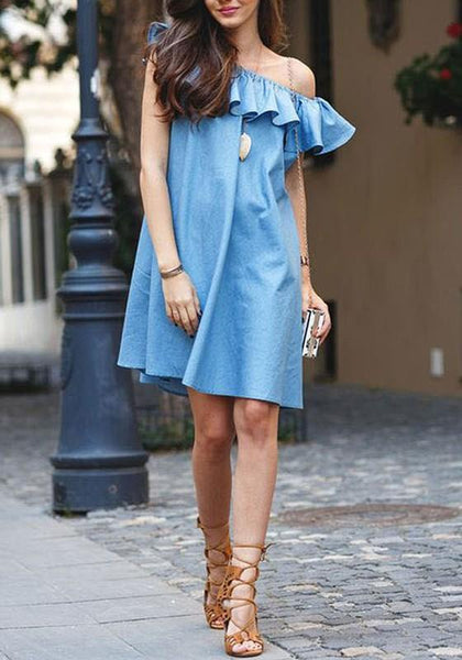 Casual Light Blue Plain Falbala Draped Bandeau Off Shoulder Elegant Mini Dress