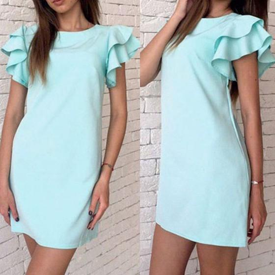 Casual Light Blue Plain Pleated Round Neck Casual Cotton Mini Dress