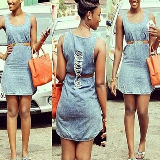 Casual Light Blue Plain Ripped Destroyed Square Neck Sleeveless Casual Mini Dress