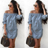 ByChicStyle Casual Light Blue Single Breasted Irregular 3/4 Sleeve Mini Dress