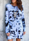 ByChicStyle Casual Light Blue Tie Dye Round Neck Long Sleeve Casual Mini Dress