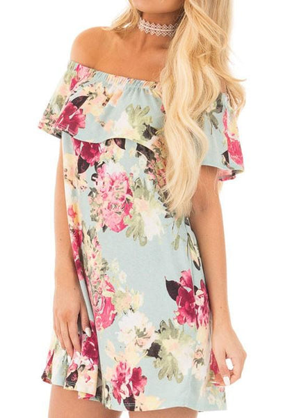 Casual Light Green Floral Boat Neck Off Shoulder Ruffle Irregular Fashion Mini Dress