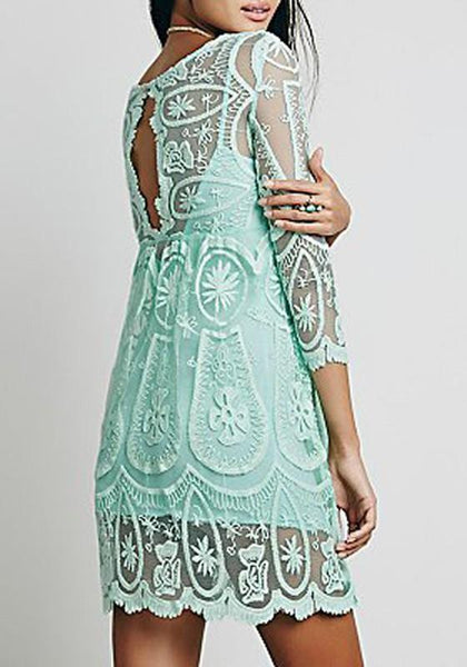 Casual Light Green Floral Lace Hollow-out See-through 3/4 Sleeve A-line Cute Mini Dress