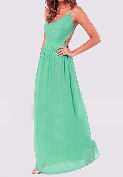 Casual Light Green Plain Cross Back Collarless Party Polyester Maxi Dress
