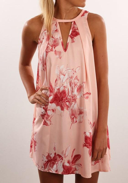 Light Pink Floral Print Halter Cut Out Pleated Colorful Round Neck Sleeveless Mini Dress