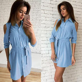 ByChicStyle Casual Light Sashes Buttons Polo Neck Casual Blue Mini Dress