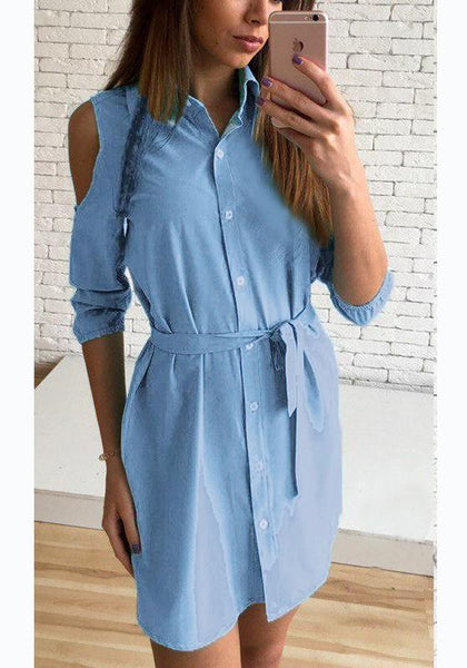 Casual Light Sashes Buttons Polo Neck Casual Blue Mini Dress