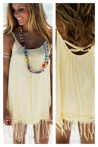 Casual Light Yellow Polka Dot Tassel Condole Belt Pleated Sleeveless Mini Dress