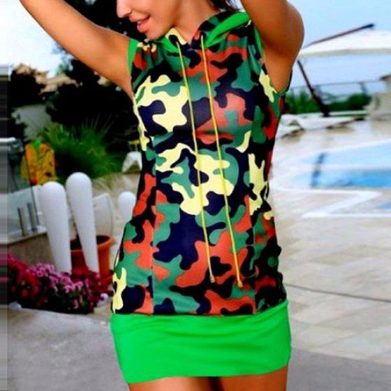 Casual Multicolor Camouflage Print Sleeveless Sports Mini Dress