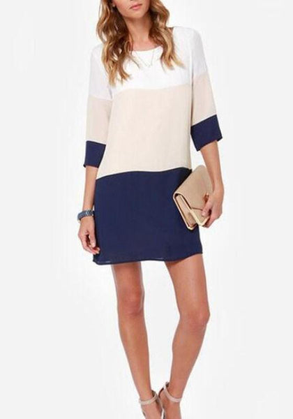 Casual Multicolor Color Block Back Buttons Round Neck 3/4 Sleeve Mini Dress