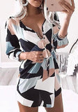 ByChicStyle Casual Multicolor Color Block Single Breasted Drawstring 3/4 Sleeve Mini Dress