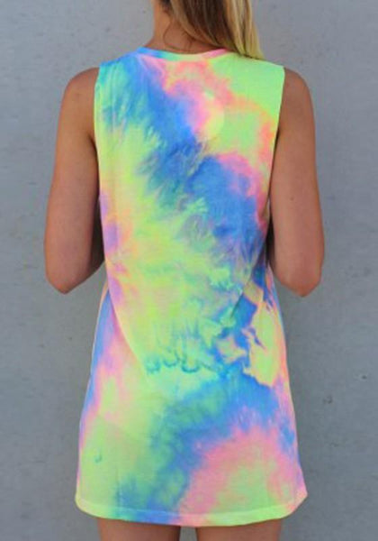 Casual Multicolor Colorful Print Sleeveless Round Neck Cotton Mini Dress