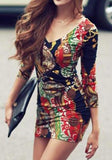 ByChicStyle Casual Multicolor Floral Print V-neck Skinny Modal Dress