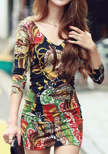 Casual Multicolor Floral Print V-neck Skinny Modal Dress