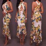 ByChicStyle Multicolor Flowers Print Irregular Cross Back High-low Mermaid Bodycon Party Maxi Dress