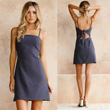 ByChicStyle Casual Navy Blue Bow Shoulder-Strap Bandeau Backless Mini Dress