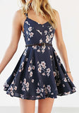ByChicStyle Casual Navy Blue Floral Condole Belt Pleated Cut Out Mini Dress