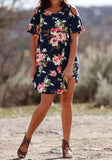 ByChicStyle Casual Navy Blue Floral Draped Cut Out Off Shoulder Round Neck Mini Dress