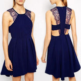 ByChicStyle Casual Navy Blue Patchwork Lace Round Neck Backless Cute Homecoming Mini Dress