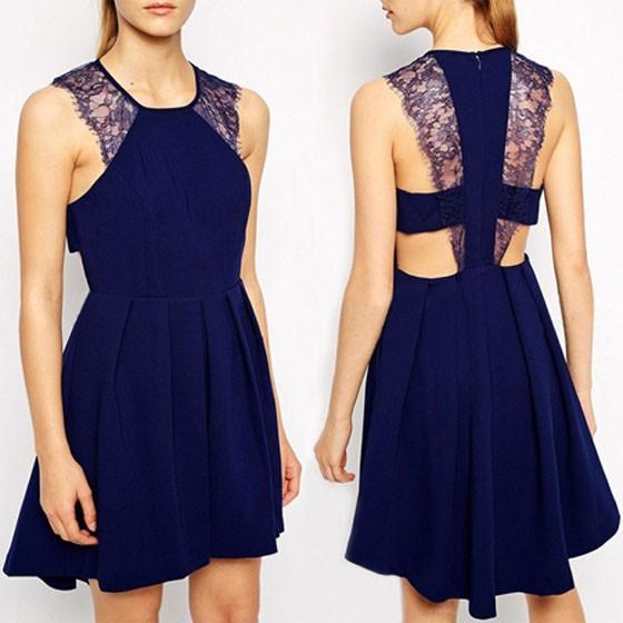 Casual Navy Blue Patchwork Lace Round Neck Backless Cute Homecoming Mini Dress