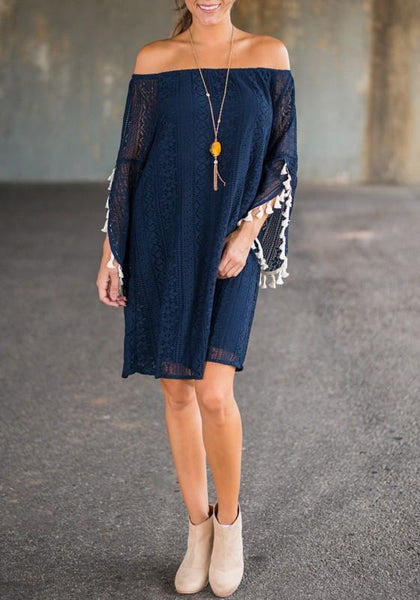 Casual Navy Blue Patchwork Lace Tassel Boat Neck Fashion Mini Dress