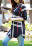 ByChicStyle Casual Navy Blue Plaid Buttons Irregular V-neck 3/4 Sleeve Casual Loose Mini Dress
