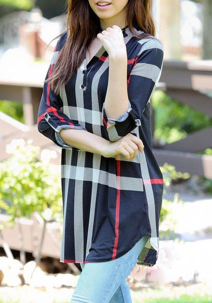 Casual Navy Blue Plaid Buttons Irregular V-neck 3/4 Sleeve Casual Loose Mini Dress