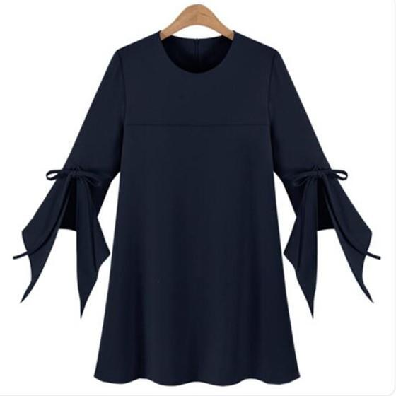 Casual Navy Blue Plain Bow Elegant Plus Size Round Neck Fashion Mini Dress