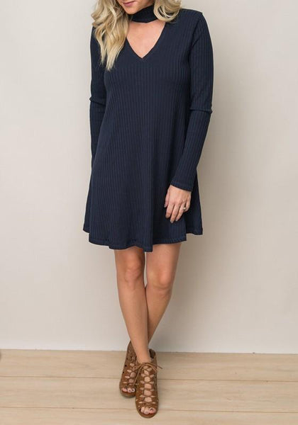 Casual Navy Blue Plain Draped Cut Out V-neck Casual Cotton Mini Dress