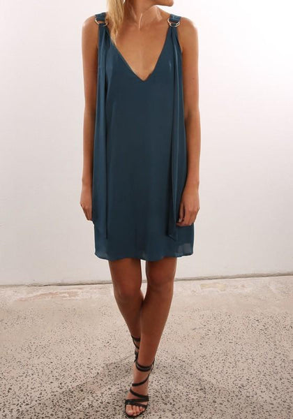 Casual Navy Blue Plain Draped Plunging Neckline Casual Chiffon Mini Dress