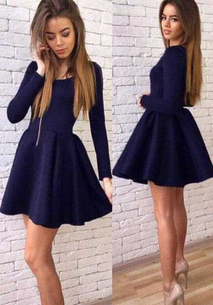 Casual Navy Blue Plain Pleated Round Neck Fashion Cotton Mini Dress