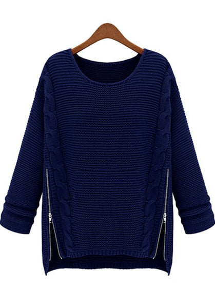 Casual Navy Blue Plain Zipper Round Neck Acrylic Sweater