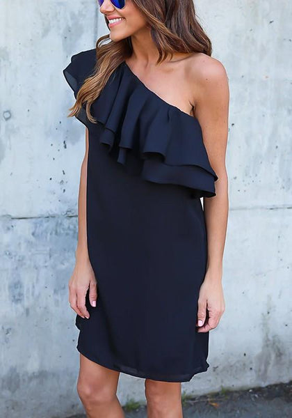 Casual Navy Blue Ruffle Asymmetric Shoulder Short Sleeve Fashion Mini Dress