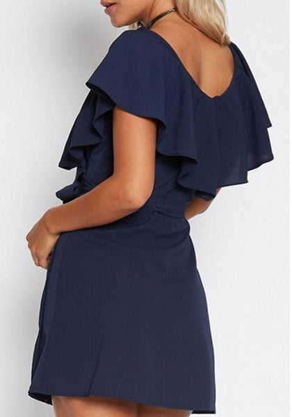 Casual Navy Blue Ruffle Sashes Lace-up Deep V-neck Short Sleeve Mini Dress