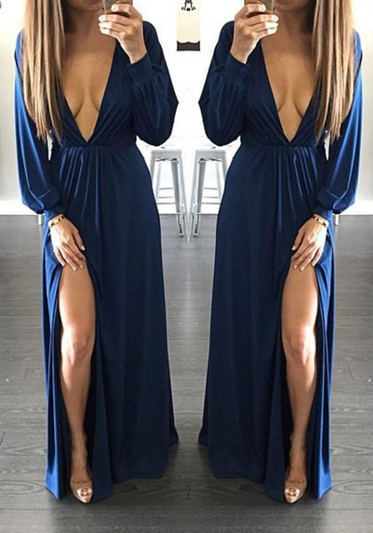 Casual Navy Blue Side Slit Prom Evening Party Plunging Neckline Long Sleeve Maxi Dress