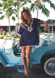 ByChicStyle Casual Navy Blue-White Patchwork Lace Tassel Elbow Sleeve Mini Dress