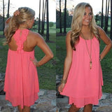 ByChicStyle Casual Neon Pink Plain Irregular Open Back Round Neck Chiffon Mini Dress
