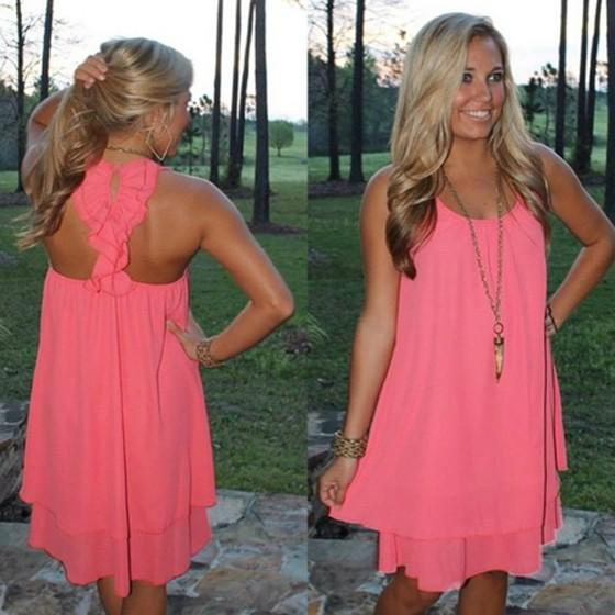 Casual Neon Pink Plain Irregular Open Back Round Neck Chiffon Mini Dress