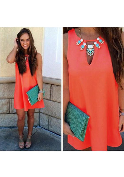 Casual Orange Cut Out Round Neck Sleeveless Casual Mini Dress